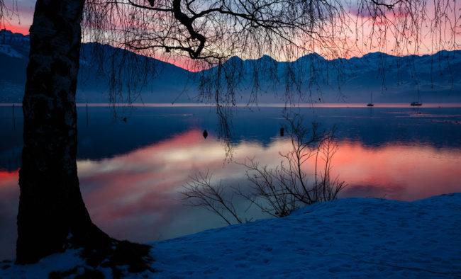 Coucher de soleil sur le lac de Thoune