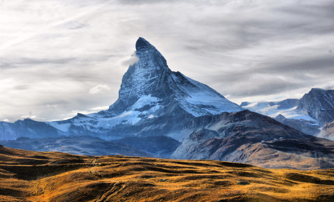 Amazing View of the panorama mountain range near the Matterhorn in the Swiss Alps.