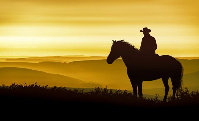 A cowboy on horseback observes the golden mountains