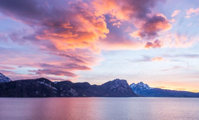 Vitznau, Lucerne. Clouds in the sunset light.