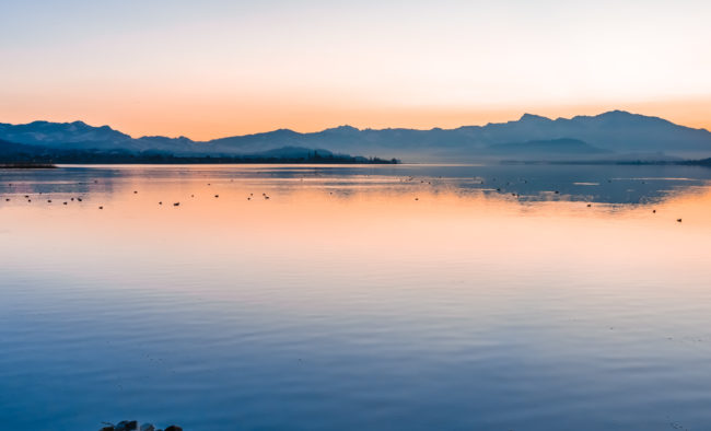 Gorgeous sunrise on the shores of the Upper Zurich Lake (Obersee) between the village of Hurden (Seedam, Schwyz) and Rapperswil (Sankt Gallen), Switzerland