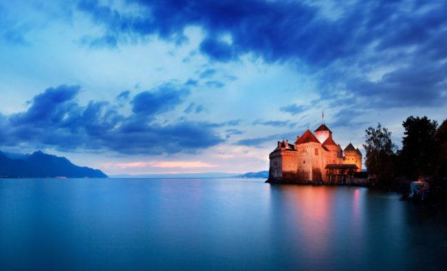 Sunset of Chillon Castle at Geneva lake, Switzerland